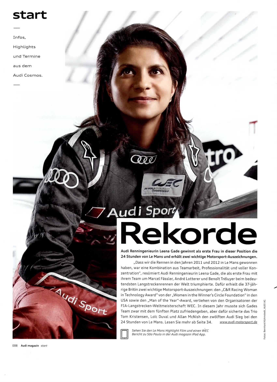 Audi Magazin, Leena Gade